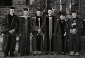 1948 Honorary Degree recipients with Oberlin College President William E. Stevenson (from left to right): Frederick L. Fagley, Ira Sprague Bowen, Clarence Pickett, W. E. Stevenson, Mary Church Terrell, Francis Hutchins. Courtesy of Oberlin College Archives