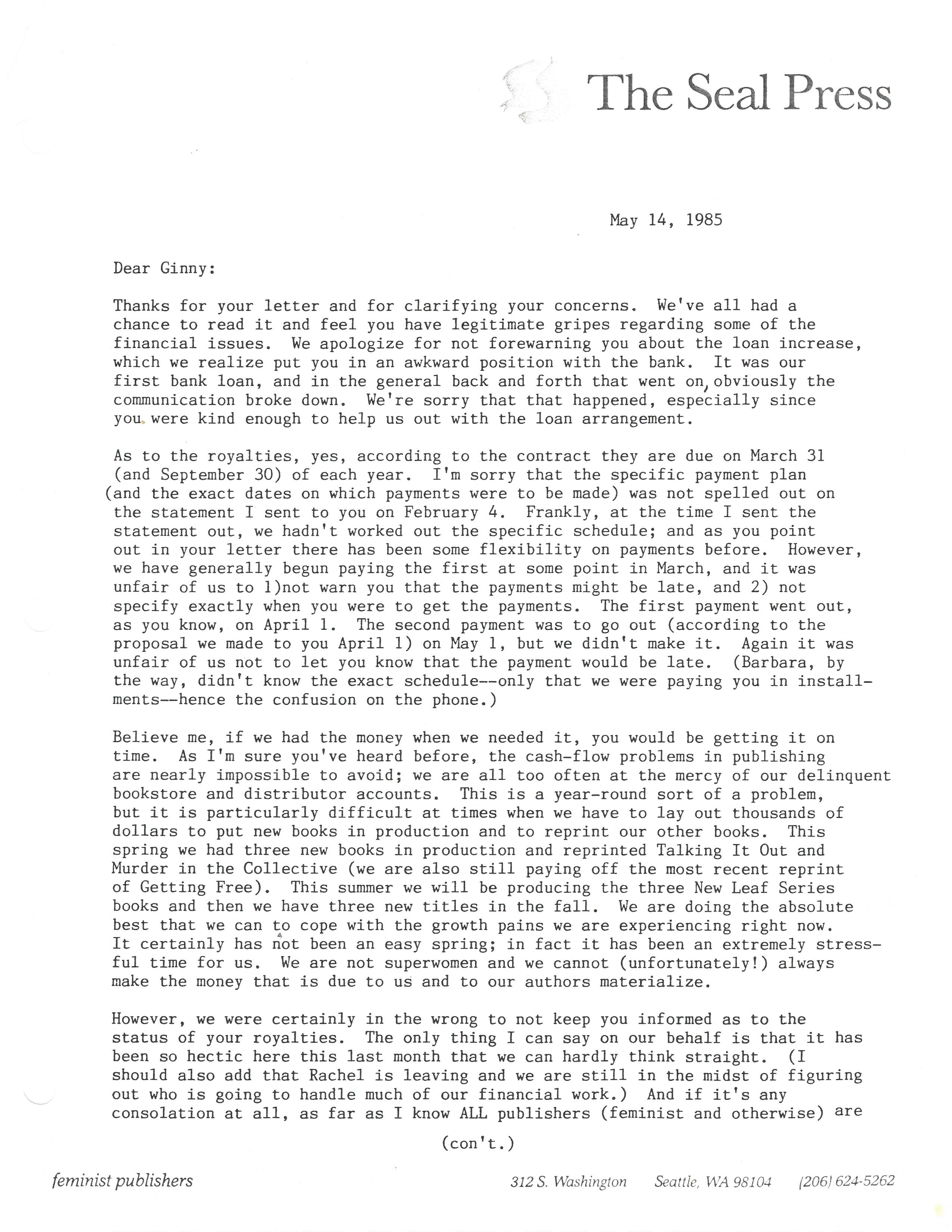 14 may 1985 letter pt 1