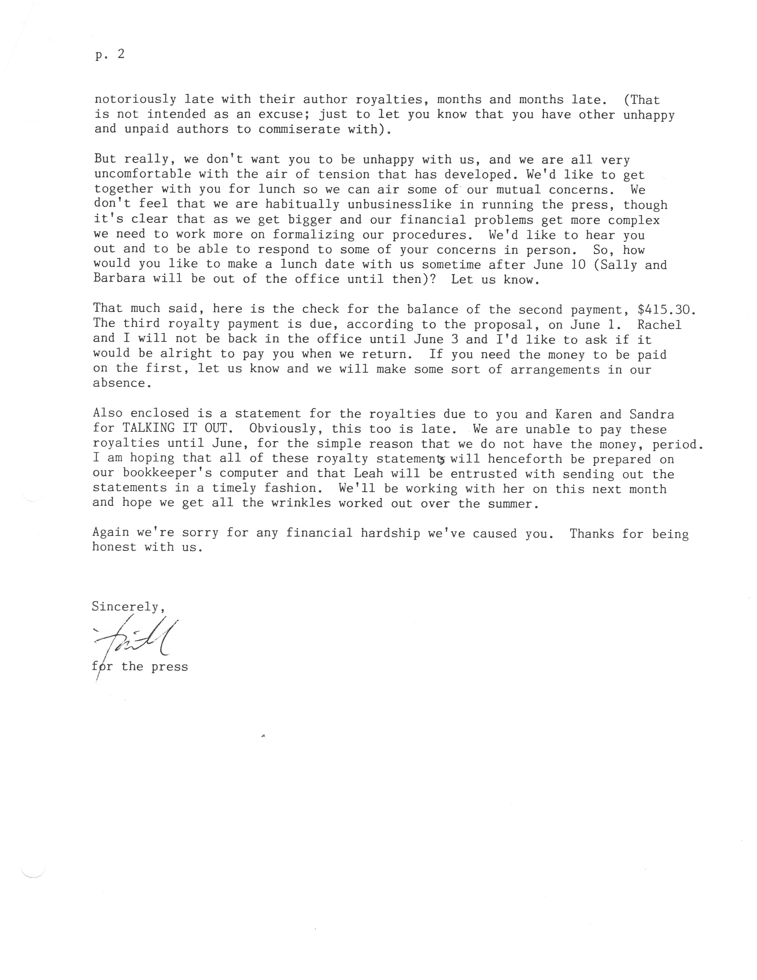 14 may 1985 letter pt 2
