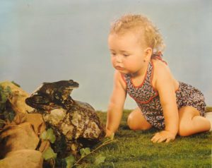 cabro print of girl and frog