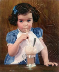 Cabro print of girl with milkshake