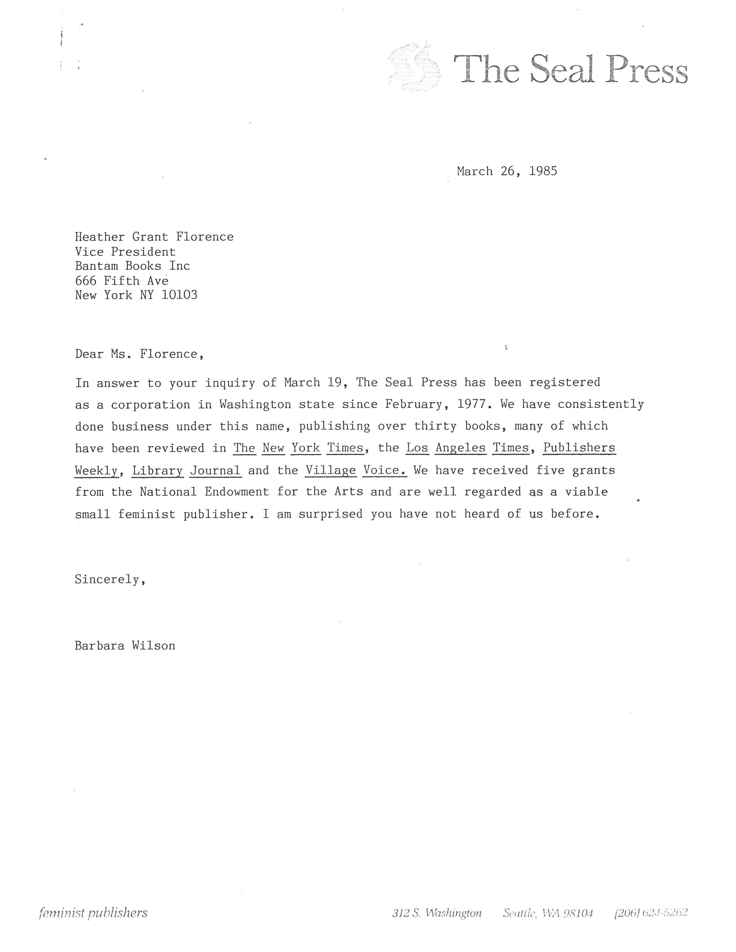 bantam letter