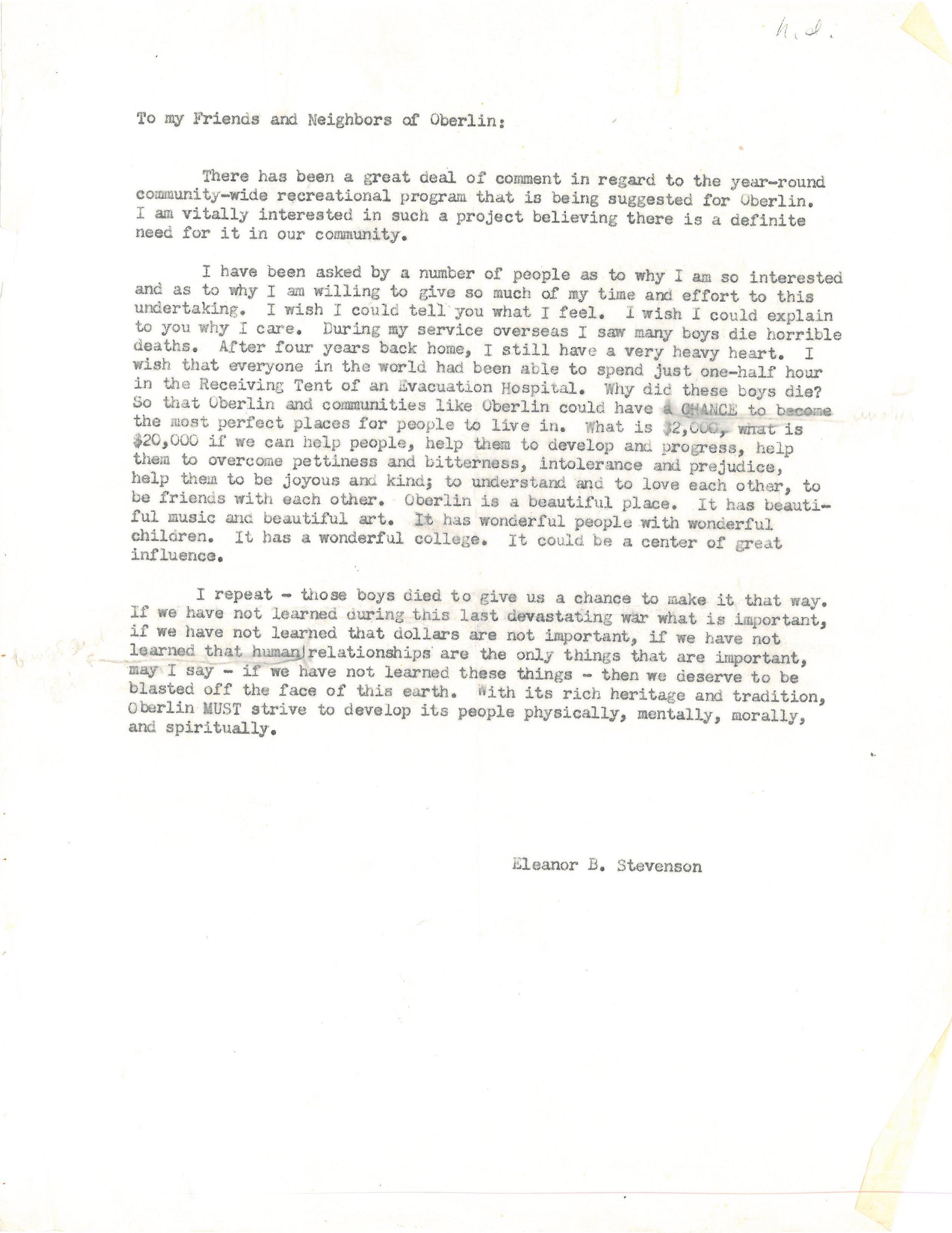 oberlin letter